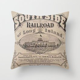 1873 Vintage South Side Railroad Long Island, New York Broadside Advertising Poster Throw Pillow
