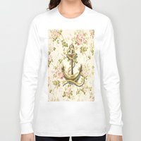 shabby chic Long Sleeve T-shirts featuring romantic vintage anchor shabby chic floral by chicelegantboutique