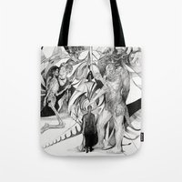 erotic Tote Bags featuring Untitled Erotic Drawing by Eric Penington