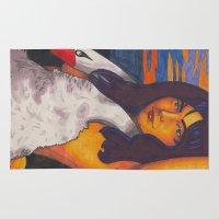 bjork Area & Throw Rugs featuring Swan Lady by Anna Gogoleva
