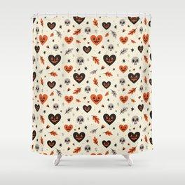 I Heart Fall Pattern Shower Curtain