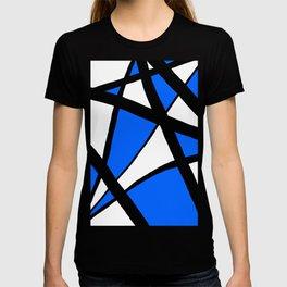 China Blue Geometric Triangle Abstract Inverse T-shirt
