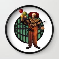 pennywise Wall Clocks featuring Pennywise by Monsterinbox