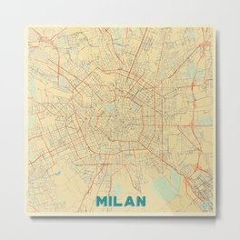 Milan Map Retro Metal Print
