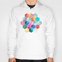 bohemian Hoodies featuring Crystal Bohemian Honeycomb Cubes - colorful hexagon pattern  by micklyn