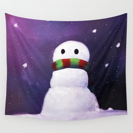 Starry Snowman Wall Tapestry