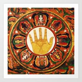 Buddhist Hindu Healing Hand Mandala Art Print