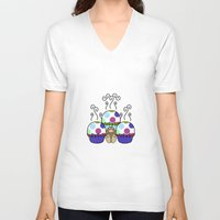 polkadot V-neck T-shirts featuring Cute Monster With Pink And Blue Polkadot Cupcakes by Mydeas