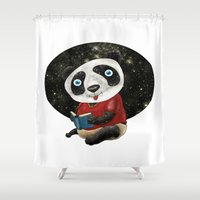 red panda Shower Curtains featuring Panda by gunberk