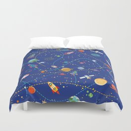 Space Rocket Pattern Duvet Cover
