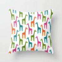 giraffes Throw Pillows featuring Giraffes by ts55