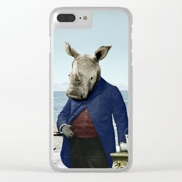 Mr. Rhino's Day at the Beach Clear iPhone Case