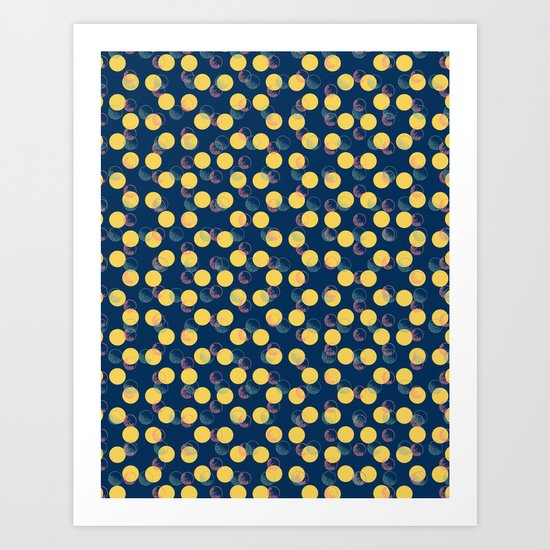 Yellow Polka Dots And Scribbles Art Print