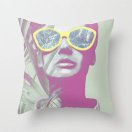 Watching Ocean behind the Palm Leaves Throw Pillow