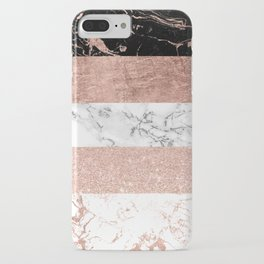 Modern chic color block rose gold marble stripes pattern iPhone Case