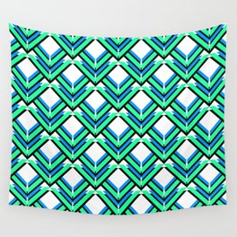 Blue Green Pattern Wall Tapestry