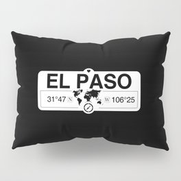 El Paso Texas Map GPS Coordinates Artwork with Compass Pillow Sham