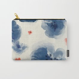 Blue Blooms with Coral Carry-All Pouch
