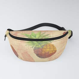 Retro Vintage Pineapple with Grunge Animals Background Fanny Pack