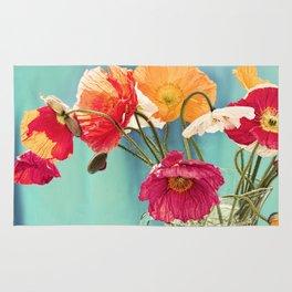 Bright Dancers - Vintage toned poppy flower still life Rug