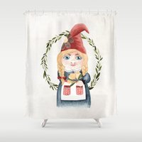 gnome Shower Curtains featuring Female Gnome by Fercute