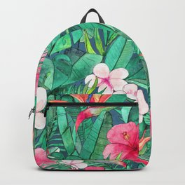 Classic Tropical Garden with Pink Flowers Backpack