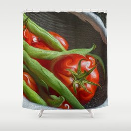 Snap Peas and Tomatoes in Colander Shower Curtain