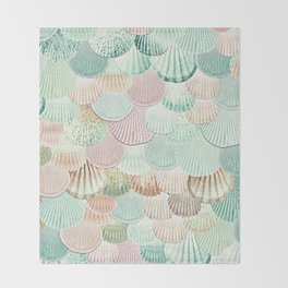 MERMAID SHELLS - MINT & ROSEGOLD Throw Blanket