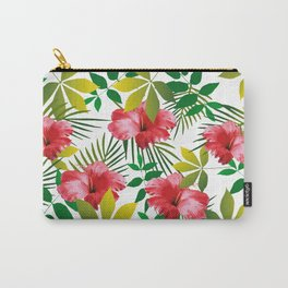 Hibiscus Flower and Leaf Carry-All Pouch