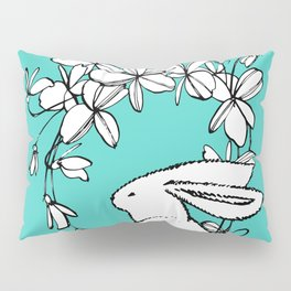 Happy Easter White Bunny and Flowers 2 on Teal Pillow Sham