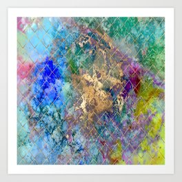 Abstract, Galaxy+Geometric, Aqua+Lime Art Print
