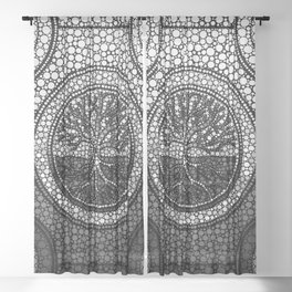 Tree of life - Yggdrasil- Dot Art Grayscale Sheer Curtain