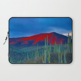 Green Cactus Field In The Desert With Red Mountains Blue Grey Sky Landscape Photography Laptop Sleeve