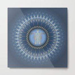 Dark Blue Gold Turtle And Mandala Metal Print