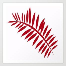 PALM LEAF RED Art Print
