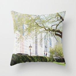 Chicago Spring Green Throw Pillow