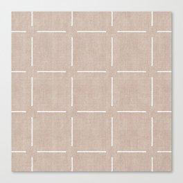 Block Print Simple Squares in Tan Canvas Print