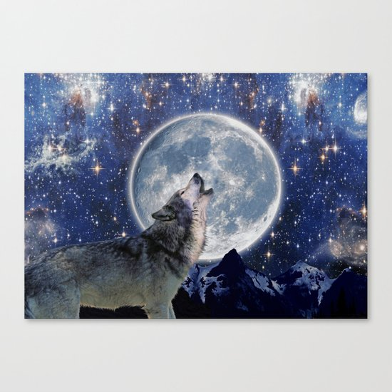 A One Wolf Moon Canvas Print