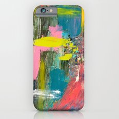 Collision - a bright abstract with pinks, greens, blues, and yellow Slim Case iPhone 6s