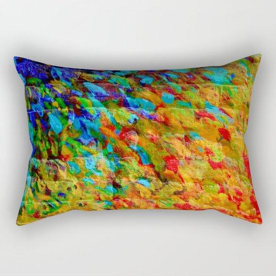 COLLISION COURSE - Bold Rainbow Splash Bricks Urban Jungle Ocean Waves Nature City Acrylic Painting Rectangular Pillow