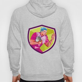 Rugby Player Fend Off Low Polygon Hoody