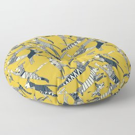 dog party indigo yellow Floor Pillow