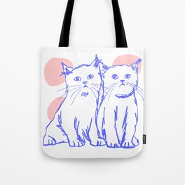 Katzen 002 / Minimal Line Drawing Of Two Cats Tote Bag