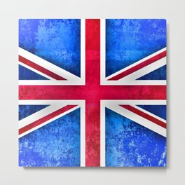 Grunge British Flag Metal Print