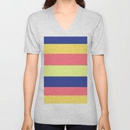 Modern rainbow neon colors color block stripes Unisex V-Neck