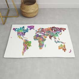 Text Map of the World Rug
