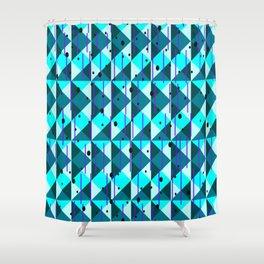 Geometric Pattern in Blue Shower Curtain