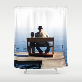 Grandson and Grandfather fishing on the end of a Boat Shower Curtain