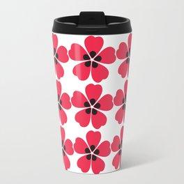 Japanese Sakura Floral Pattern - White Travel Mug