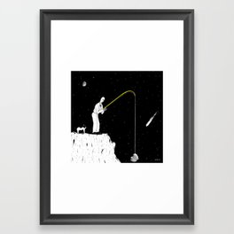 Fishing on the moon Framed Art Print